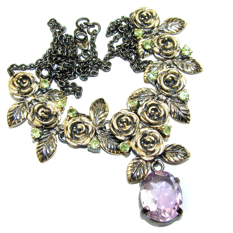 Artisan Master Piece genuine Amethyst two tones .925 Silver handcrafted Necklace