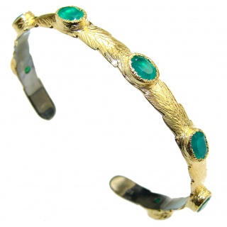Emerald 14k Gold over .925 Sterling Silver handcrafted Bracelet