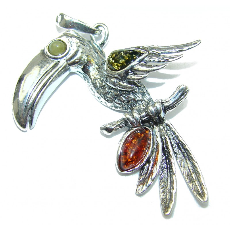 Masterpiece Toucan Baltic Polish Amber .925 Sterling Silver Handmade Pendant