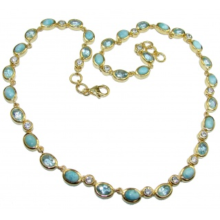 Great Masterpiece genuine Larimar 14K Gold over .925 Sterling Silver handmade necklace