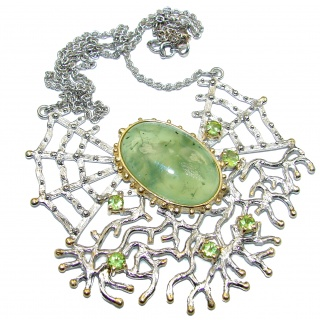 Magic Spider's Web Genuine Moss Prehnite .925 Sterling Silver handmade necklace