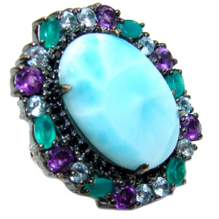 Natural Larimar Emerald Black Rhodium over .925 Sterling Silver handcrafted Ring s. 6