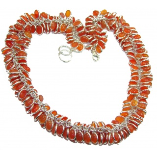 Aura Of Beauty Genuine Carnelian Agate .925 Sterling Silver handmade CHA-CHA necklace