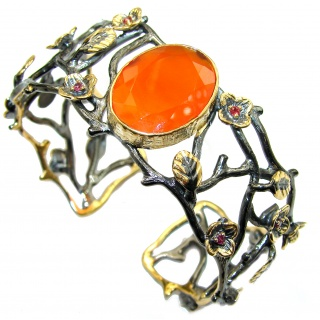 Real Treasure Carnelian Rose Gold over .925 Sterling Silver Bracelet / Cuff