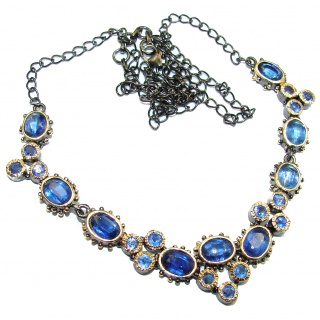 Great Masterpiece genuine Kyanite two tones .925 Sterling Silver handmade necklace