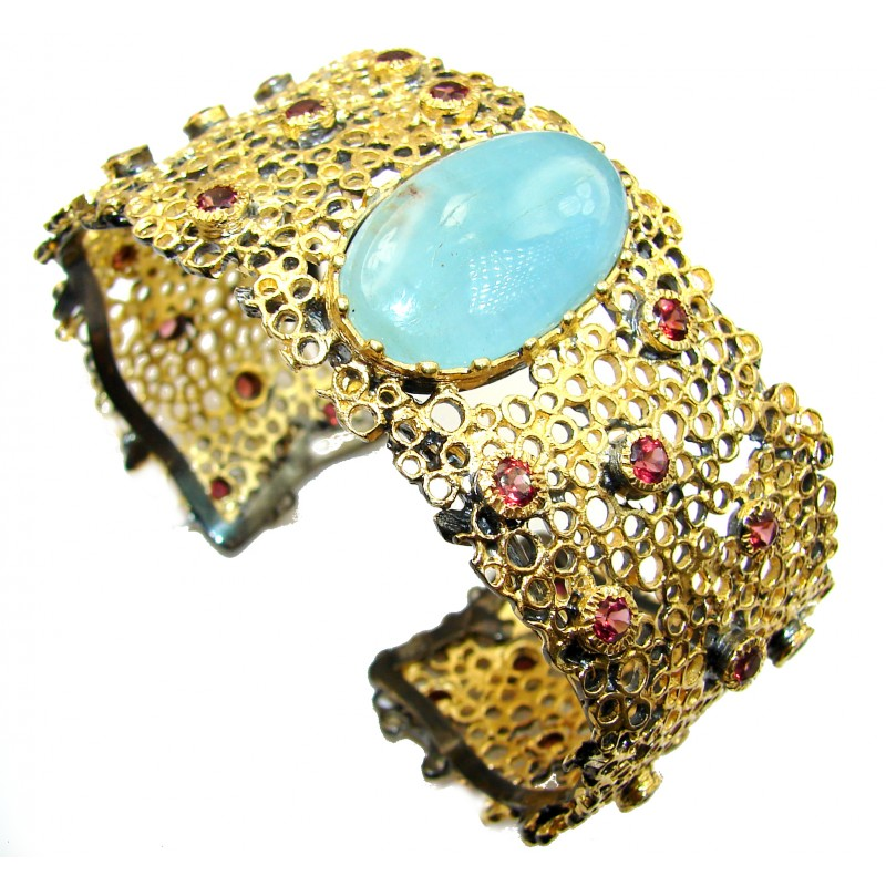 New Universe Genuine Aquamarine 14K Gold over .925 Sterling Silver handmade Bracelet Cuff