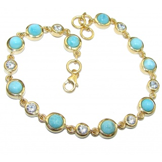 Classy Design authentic Larimar 14k Gold over .925 Sterling Silver handcrafted Bracelet