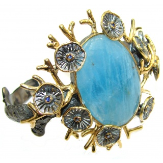 New Universe Genuine 85ct. Aquamarine 14K Gold over .925 Sterling Silver handmade Bracelet Cuff
