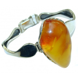 Vintage Design Genuine Baltic Amber .925 Sterling Silver handamde Bracelet