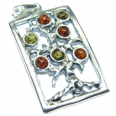 Perfect Family Tree Natural Baltic Amber .925 Sterling Silver Pendant
