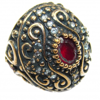Large Victorian Style created Ruby & White Topaz Sterling Silver ring; s. 7