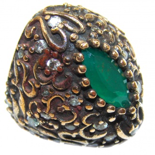 Victorian Style created Emerald & White Topaz Copper over Sterling Silver ring; s. 5