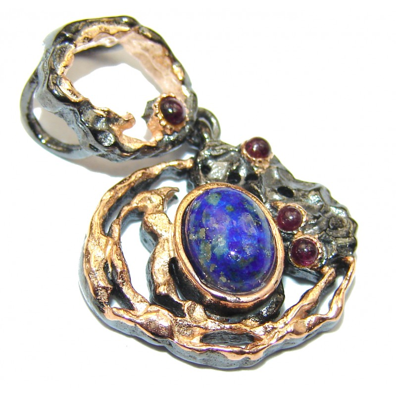 Perfect Lapis Lazuli Rose Gold over .925 Sterling Silver handcrafted Pendant
