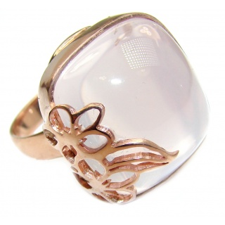 Best Quality Rose Quartz Rose Gold over .925 Sterling Silver handcrafted ring s. 8 1/4