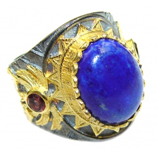 Natural Lapis Lazuli 14K Gold over .925 Sterling Silver handcrafted ring size 7