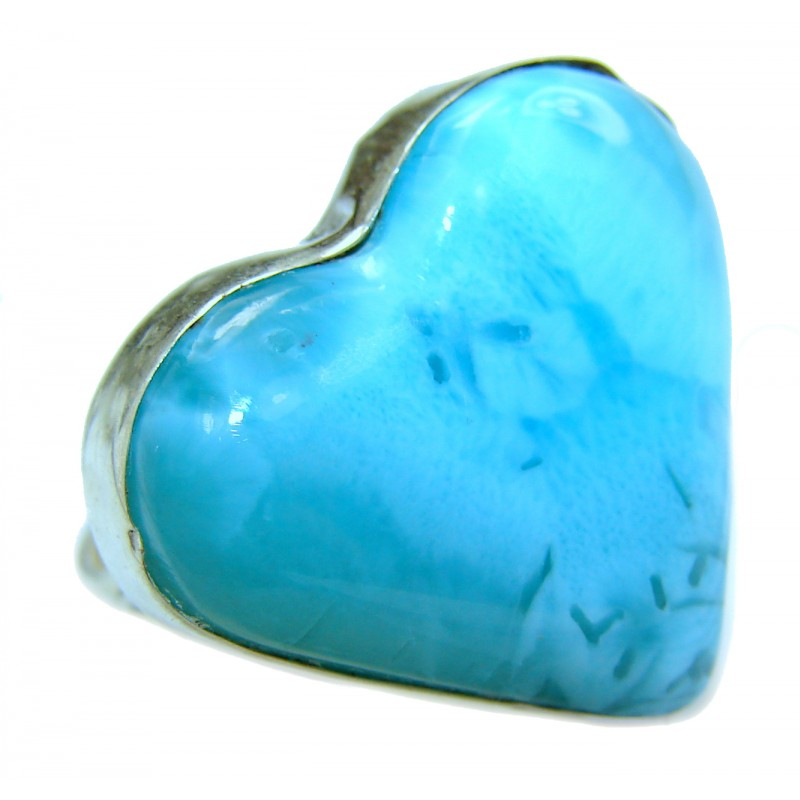 Angel's Heart Natural Larimar .925 Sterling Silver handcrafted Ring s. 8 3/4