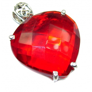 Perfect Red Heart Topaz .925 Sterling Silver handcrafted Pendant