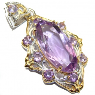 Royal Treaure Genuine 45ct Pink Amethyst 14K Gold .925 Sterling Silver handmade Pendant