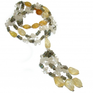 Artisan Master Piece genuine Citrine, Labradorite .925 Silver handcrafted Necklace