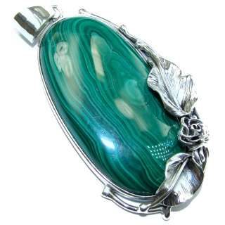 Massive 39.7 grams Top Quality Malachite Oxidized .925 Sterling Silver handmade Pendant