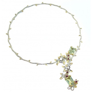 Floral Style Green Amethyst 14K Gold over .925 Sterling Silver necklace