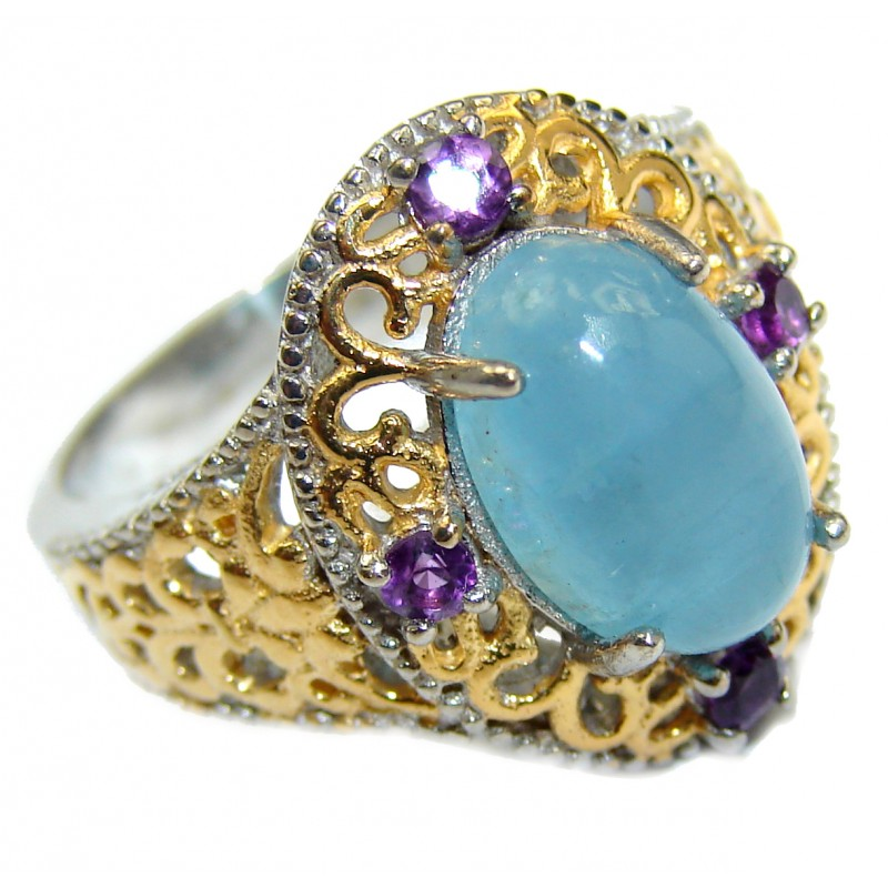 Spectacular genuine Aquamarine 14K Gold over .925 Sterling Silver handmade ring s. 7