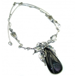Floral Design genuine Botswana Agate .925 Sterling Silver handcrafted necklace