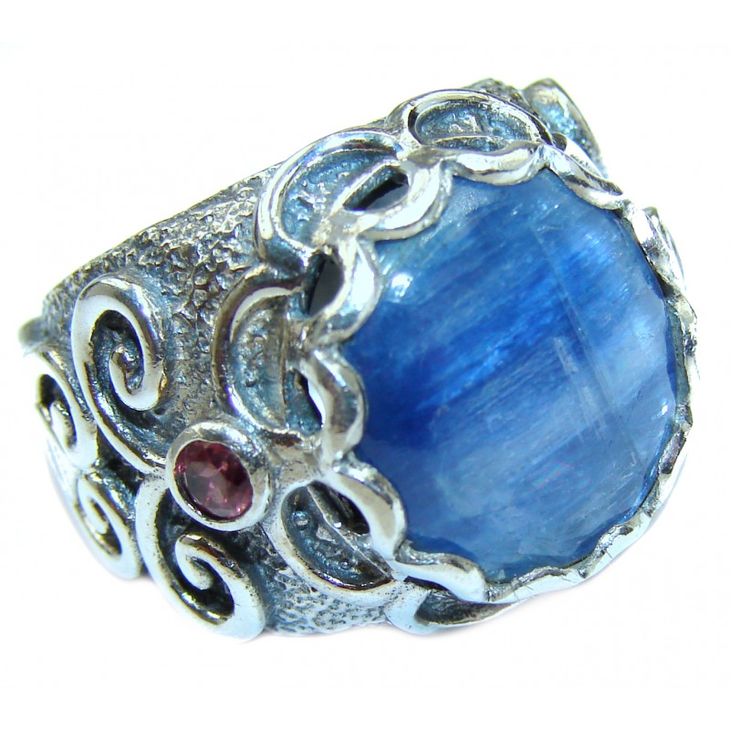 Huge Natural 26ct Kyanite .925 Sterling Silver ITALY MADE ring size 7 1/4