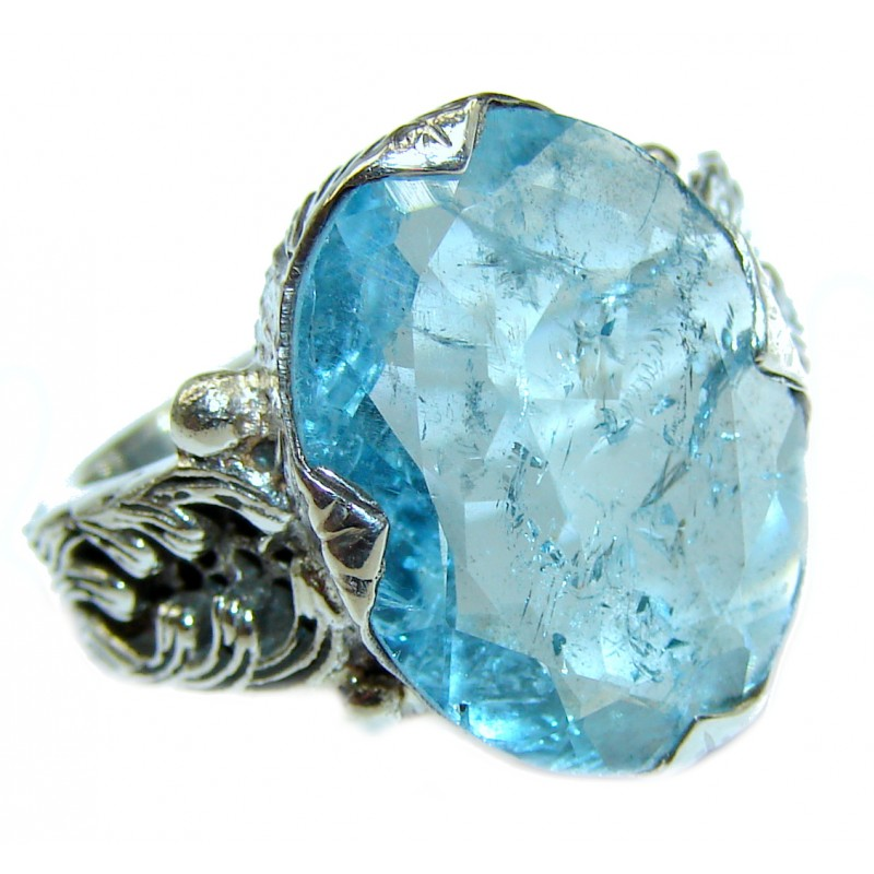 Blue Treasure genuine Aquamarine .925 Sterling Silver handmade ring s. 6