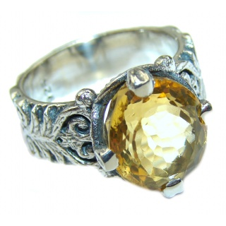 Vintage Style Natural Citrine .925 Sterling Silver handcrafted Ring s. 6