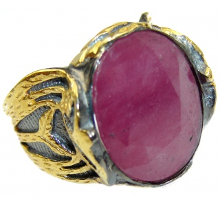 Vintage Design Genuine 25ct Ruby 14K Gold over .925 Sterling Silver handmade Ring size 7