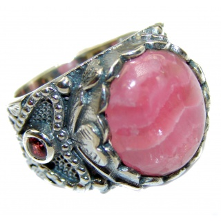 Argentinian Rhodochrosite oxidized .925 Sterling Silver handmade ring size 7
