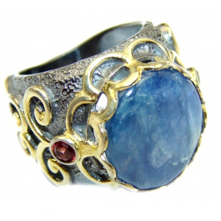 Huge Natural 26ct Kyanite two tones .925 Sterling Silver handmade ring size 6 1/4