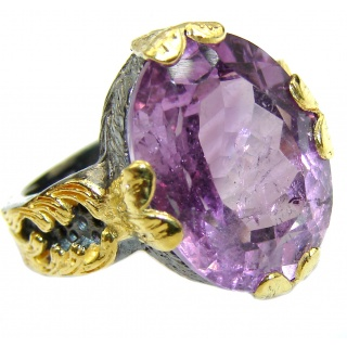 Vintage Style Amethyst .925 Sterling Silver handmade Cocktail Ring s. 7