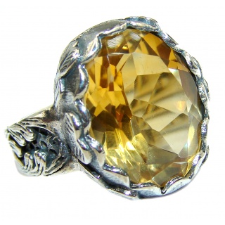 Vintage Style 25ct Natural Citrine 14ct Gold over .925 Sterling Silver handcrafted Ring s. 6
