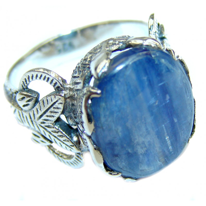 Huge Natural 26ct Kyanite .925 Sterling Silver handcrafted ring size 8 1/4