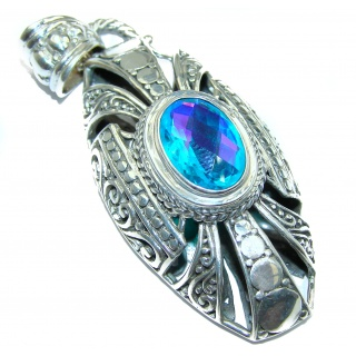 Chunky Authentic Volcanic Aqua Topaz .925 Sterling Silver handmade pendant