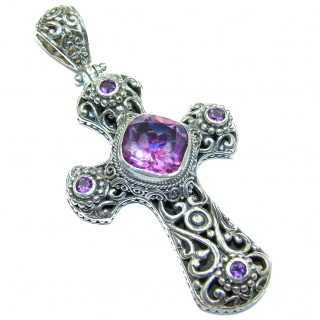 Holy Cross genuine Pink Topaz .925 Sterling Silver handmade pendant