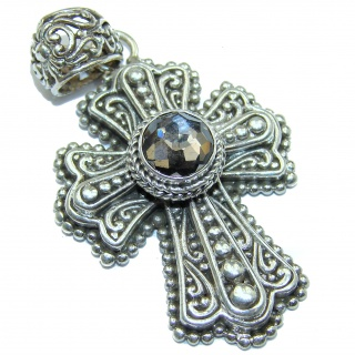 Holy Cross genuine Smoky Topaz .925 Sterling Silver handmade pendant