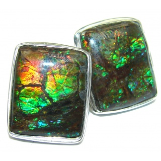 Authentic Fire Ammolite .925 Sterling Silver handcrafted earrings