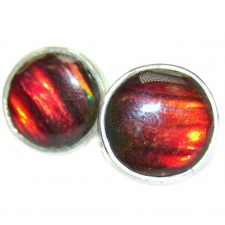 Wild Summer Fire Ammolite 15mm wide .925 Sterling Silver handcrafted earrings