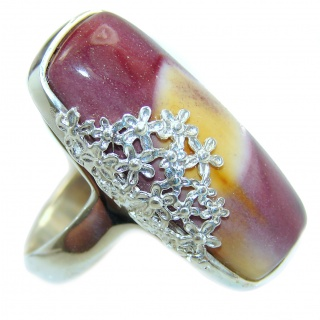 Boho style Mookaite .925 Sterling Silver handmade ring size 7 1/4