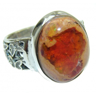 New Design Genuine Mexican Opal .925 Sterling Silver handmade Ring size 7 adjustable