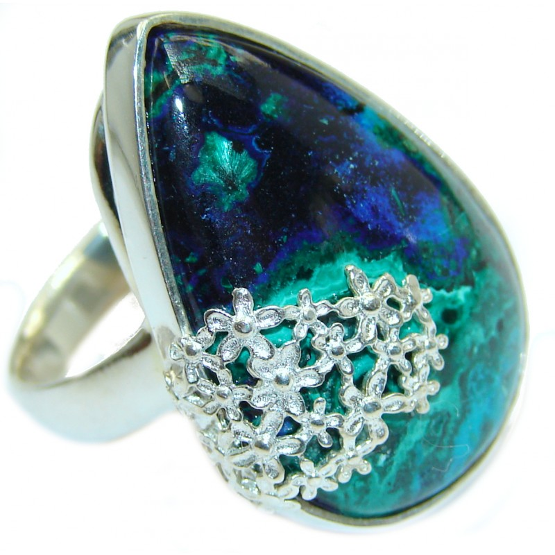 Natural Chrysocolla .925 Sterling Silver handcrafted ring size 8