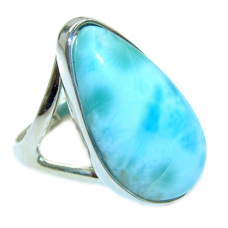 Natural Larimar .925 Sterling Silver handcrafted Ring s. 6 3/4