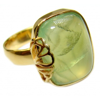 Natural Moss Prehnite 14k Gold over .925 Sterling Silver handmade ring s. 8