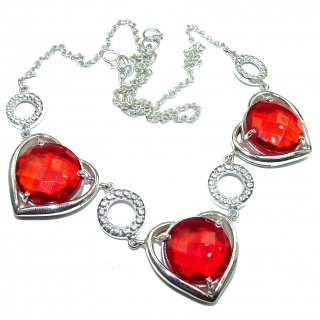 Bohemian Style One of the kind Red Quartz .925 Sterling Silver handmade necklace