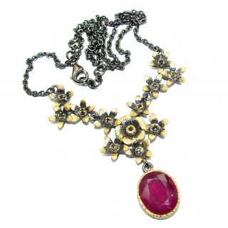 Genuine Ruby 14K Gold over .925 Sterling Silver handcrafted necklace