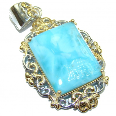 Sublime Beauty Caribbean Sea Larimar two tones .925 Sterling Silver handmade pendant
