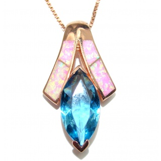Luxury Swiss Blue Topaz Rose Gold over .925 Sterling Silver handcrafted necklace